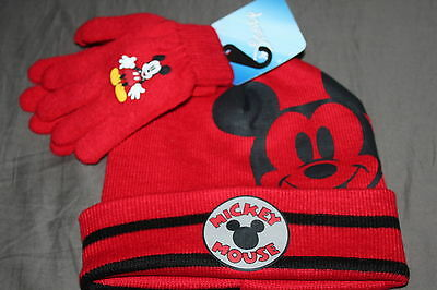 MICKEY MOUSE WINTER HAT GLVES SET One Size 5+ boys / teen