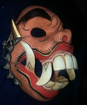 Antique Japanese Asian Hand carved wood mask Moveable jaw Tusked pig face