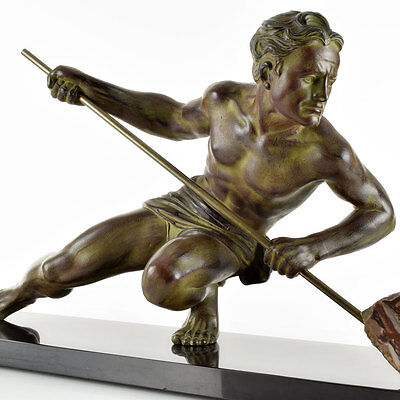 HUGE 1930s French ART DECO Nude Male Athlete SCULPTURE Rockman by GUSTAVE BUCHET