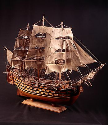 "Vintage Large wooden tall ship model over 42"" from stem to stern"