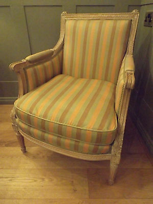A 20Th.century Louis Xvi Style Bergere Chair Recently Upholstered