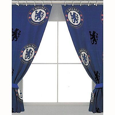 "Chelsea FC 66"" x 72"" Drop Polycotton Curtains Ready Made NEW"