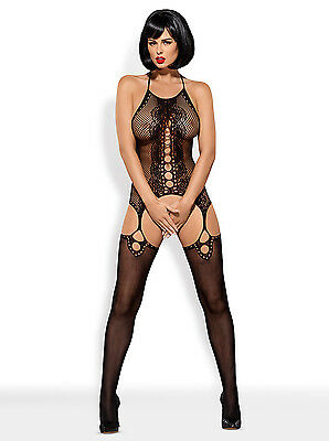 Bodystocking Loch Muster schwarz Masche Nylon Catsuit Overall ouvert offen S/M/L