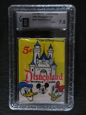 1965 unopened graded wax pack cards of Disneyland 7.5