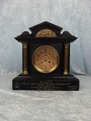 Field Marshall 1892 Presentation Black Slate Two Train Mantle Clock