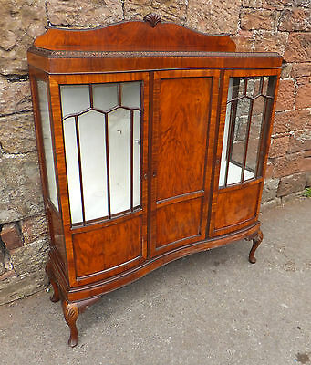 QUALITY Vintage MAHOGANY Glazed DISPLAY Case CHINA Cabinet CARVED Cupboard UNIT