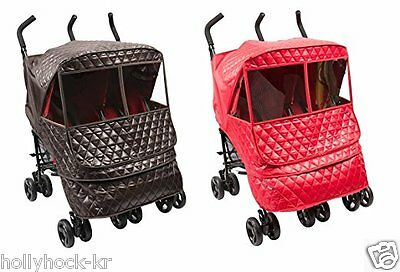Manito Castle Alpha Twin Stroller Weather Shield for Winter Choco Brown / Red