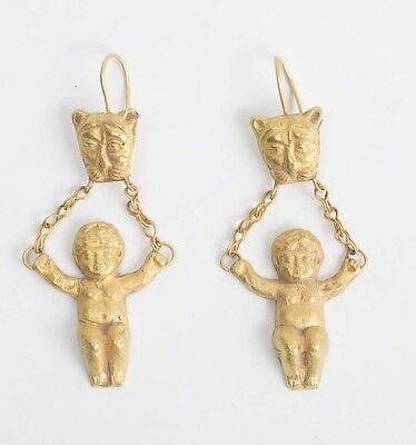 Roman Style Gold Earrings with Figures.