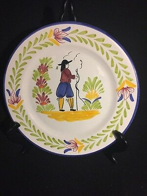 """HEAVY PORTUGAL18THC REPRO hand painted faience WALL PLATE 10""""dia. Mint Cond."""