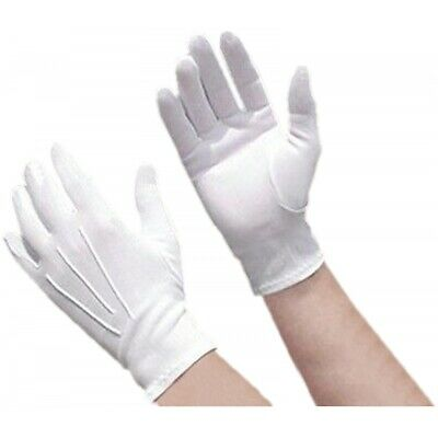 White Nylon Parade Gloves Santa Claus Costume Accessory Adult Christmas