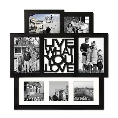 Adeco Black Wood 7-Opening Various Sizes Wall Hanging Picture Photo Frame