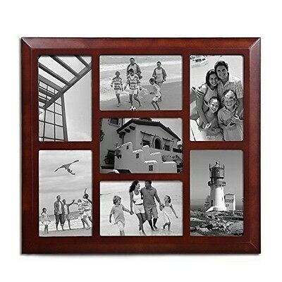 Adeco Decorative Walnut-Color Wood Wall Hanging Collage Picture Photo Frame