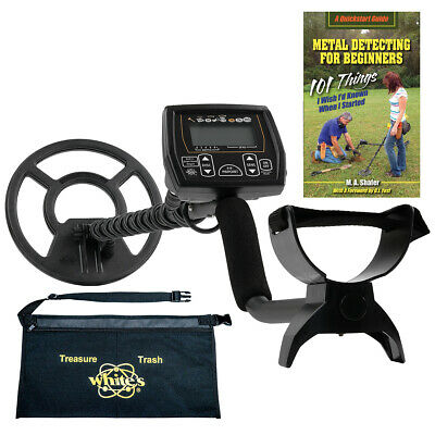 """Whites Coinmaster Metal Detector w/ 9"""" Waterproof Search Coil, Apron and Book."""