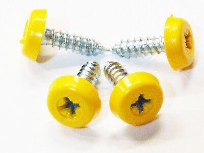HEAVY DUTY Number Plate Oversized Screws 4 Yellow  Fixing Kit CAR Van Truck HGV