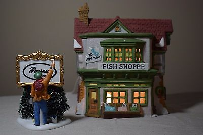 Dept 56 Dickens Village The Mermaid Fish Shoppe w/ Painting Our Own Village Sign