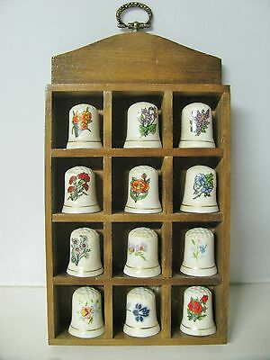 Vintage Lot/12 Porcelain Flower Sewing Thimbles With Display