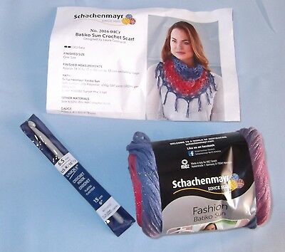 Batiko Sun Crochet Scarf Kit 1 Ball Sunset Mx & Sz K/10½ Crochet Hook Made Italy