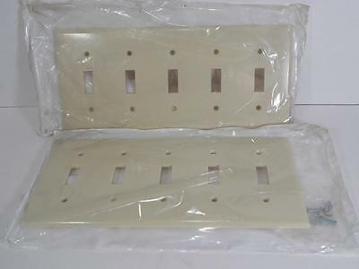 New Lot Of 2 Leviton 86023 Ivory 5-Gang Switch Cover Plate Includes Screws