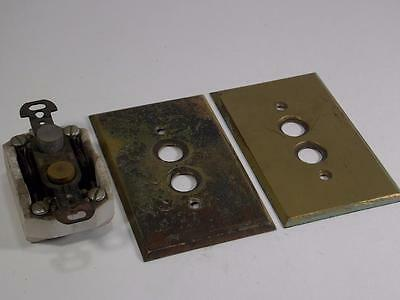 Lot Of 2 Vintage Brass Switch Plate Covers And 1 Pushbutton Switch