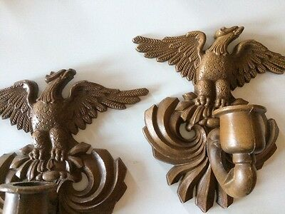 Vintage Sexton Eagles Eagle Pair Cast Metal Brown Mid Century Candle Sconces