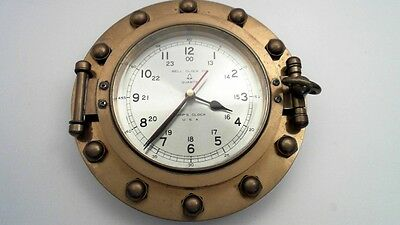 Vintage Bell Clock Co Solid Brass Porthole Clock Ship Maritime Nautical