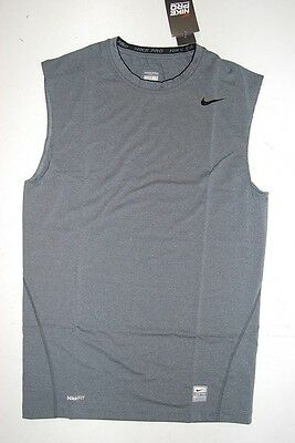 NEW Nike Pro - Gray Compression Tight Fit Sleeveless Shirt (Multiple Sizes)