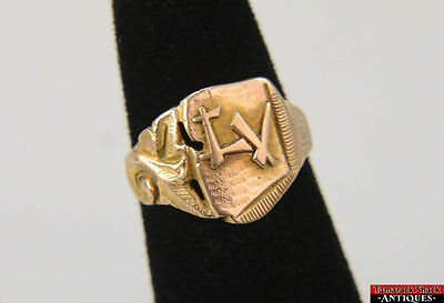 10K Gold Ring LV Class 55 Anniversary Leaf Scroll Monogram Pinky Size 4 1/2 VTG
