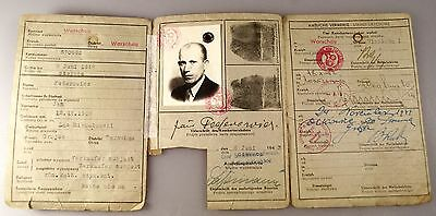 Germany Poland WWII WARSAW 1943 KENNKARTE GENERALGOUVERNEMENT OCCUPATION ID Card