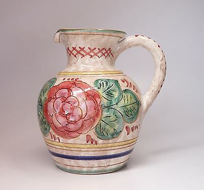 """Vintage Hand Painted Ceramic Pitcher Italy Camelia Roses 8"""" High """"As Is"""""""