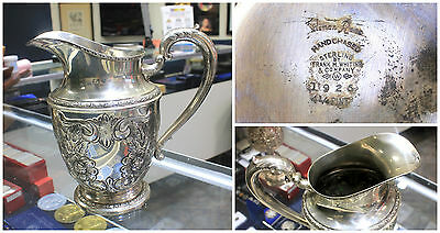 Antique 1926 Talisman Rose Frank M. Whiting 925 Sterling Silver Water Pitcher