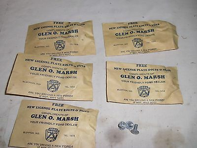 Vintage Ford Dealer License Plate Bolts Promo Bluffton IN Promotion