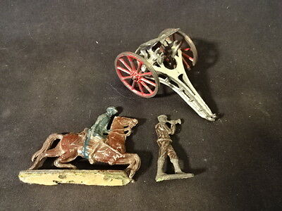 Old Vtg Lead LOT of 3 Train Garden  Flat Soldier On Horse Military Horn Cannon