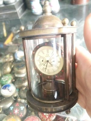 Collectible Decorated Old Handwork Copper Carved  Mechanical Table Clock