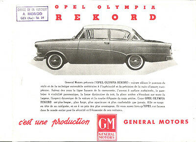 OPEL OLYMPIA REKORD P1 - 1958 ? FRENCH / catalogue brochure prospectus dépliant