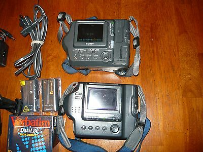 Lot of 2 Vintage Sony Mavica Floppy Disk Cameras and Accessories Bundle