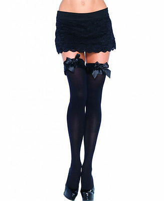 22d0fd6d54a27 Leg Avenue 6010 Opaque Thigh High Nylon Stocking With Satin Ruffle Trim And  Bow