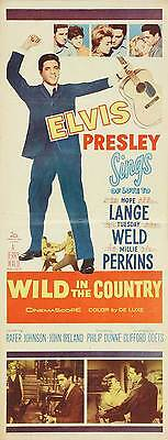 WILD IN THE COUNTRY Movie POSTER 14x36 Insert Elvis Presley Hope Lange Tuesday