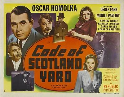 CODE OF SCOTLAND YARD Movie POSTER 22x28 Half Sheet Oskar Homolka Derek Farr