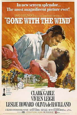 GONE WITH THE WIND Movie POSTER 27x40 N Clark Gable Vivien Leigh Olivia de