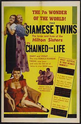 CHAINED FOR LIFE Movie POSTER 27x40 Violet Hilton Daisy Hilton Mario Laval Allen