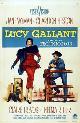 LUCY GALLANT Movie POSTER 27x40 B Jane Wyman Charlton Heston Claire Trevor