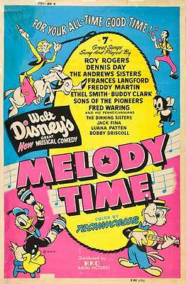 MELODY TIME Movie POSTER 27x40 C Roy Rogers Dennis Day Laverne Andrews Maxene