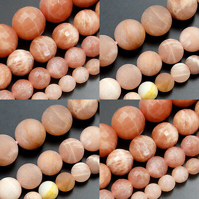 Smooth Matte Faceted Natural Sunstone Gemstone Round Loose Beads 6mm 8mm 10mm