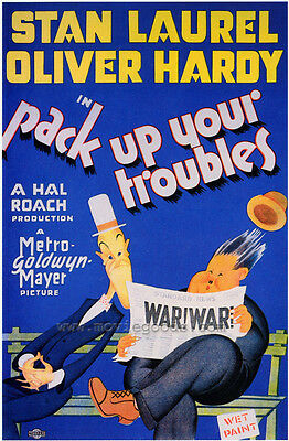 PACK UP YOUR TROUBLES Movie POSTER 27x40 Stan Laurel Oliver Hardy Don Dillaway