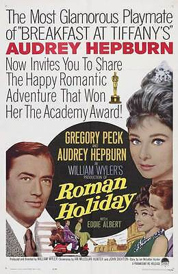 ROMAN HOLIDAY Movie POSTER 27x40 C Audrey Hepburn Gregory Peck Eddie Albert