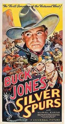 Buck Jones Cult Western movie poster 19x36 inches approx. 1936 Silver Spurs