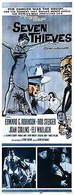 SEVEN THIEVES Movie POSTER 14x36 Insert Joan Collins Edward G. Robinson Eli