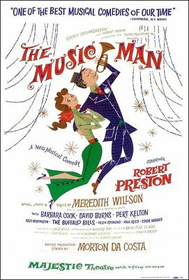 THE MUSIC MAN (BROADWAY) Movie POSTER 14x22 Robert Preston Barbara Cook Eddie