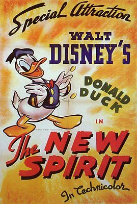 THE NEW SPIRIT Movie POSTER 27x40 Donald Duck