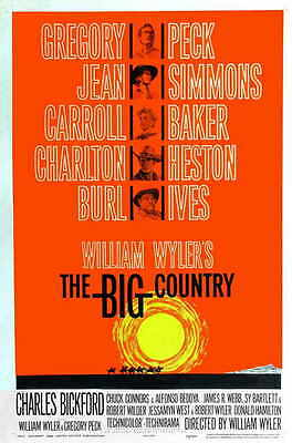 THE BIG COUNTRY Movie POSTER 27x40 B Gregory Peck Jean Simmons Carroll Baker